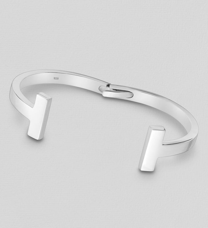 925 Sterling Silver Hand Crafted Tiffany Style Bangle - Valentines Gift Idea - The Silver Vault UK