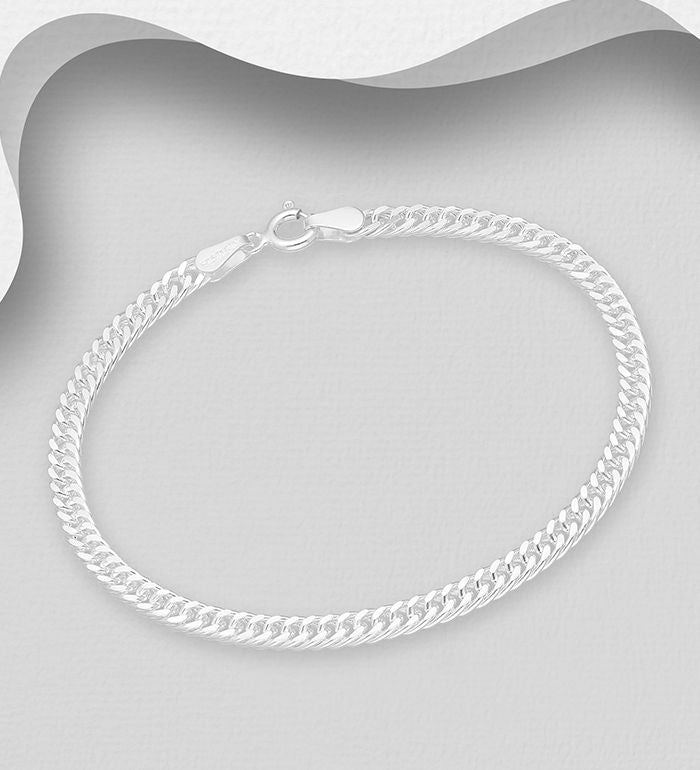 925 Sterling Silver Curb Bracelet, Made in Italy - The Silver Vault UK