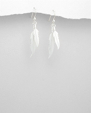 925 Sterling Silver Double Feather Drop Earrings - The Silver Vault UK