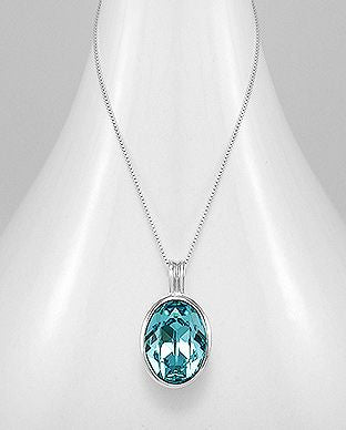 925 Sterling Silver Aquamarine Swarovski Crystal Pendant (Including chain). - The Silver Vault UK
