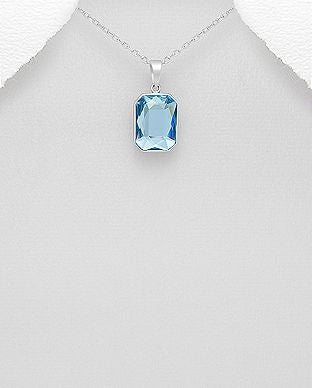 925 Sterling Silver Pendant & Chain Decorated With An Aquamarine Swarovski Crystal Stone - The Silver Vault UK