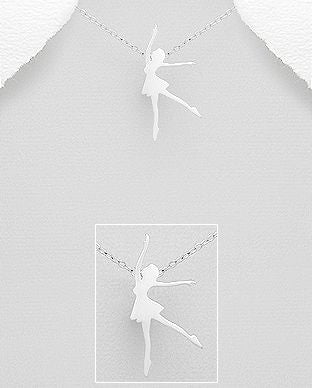 925 Sterling Silver Ballet Dancer Pendant & Chain - The Silver Vault UK