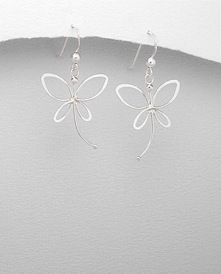 Sterling Silver Butterfly Drop Earrings - The Silver Vault UK