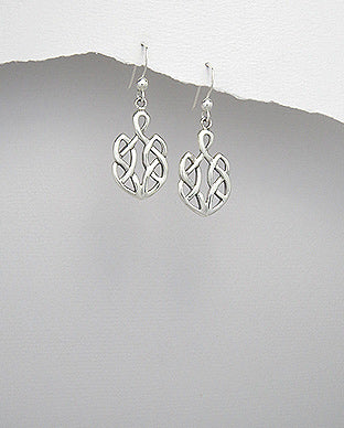 925 Sterling Silver Celtic Design Drop Earrings - The Silver Vault UK
