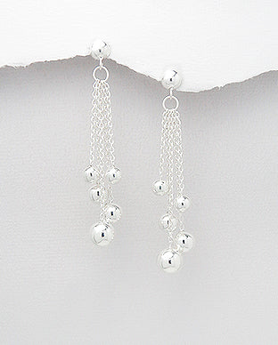 Sterling Silver Chandelier  Ball & Chain Drop Earrings - The Silver Vault UK
