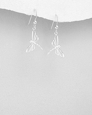 Sterling Silver Dragonfly Drop Earrings - The Silver Vault UK