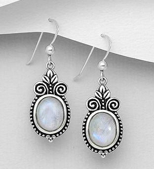 Sterling Silver Earrings With Rainbow Moonstone - The Silver Vault UK