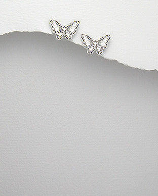 925 Sterling Silver Engraved Butterfly Stud Earrings - The Silver Vault UK