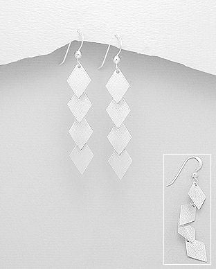 925 Sterling Silver Hand Crafted Matt Finished Drop Earrings - The Silver Vault UK