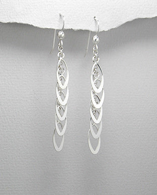 Sterling Silver Hand Crafted Shimmering Drop Earrings - The Silver Vault UK
