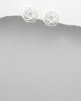 925 Sterling Silver Hand Crafted Swirl Stud Earrings - The Silver Vault UK