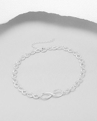 925 Sterling Silver Infinity Bracelet - Valentines Gift Idea - The Silver Vault UK