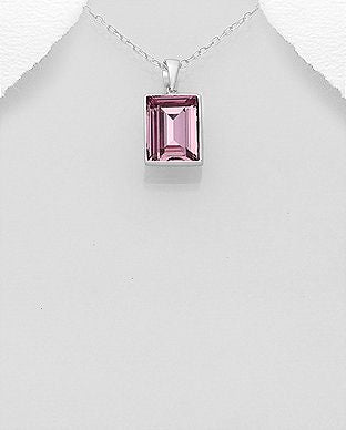 925 Sterling Silver Light Amethyst Swarovski Stone Pendant & Chain - The Silver Vault UK