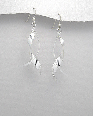 925 Sterling Silver Modern Twisting Drop Earrings - The Silver Vault UK