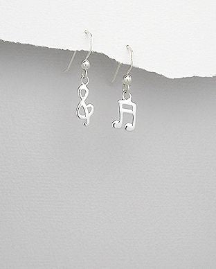 925 Sterling Silver Musical Note Drop Earrings - The Silver Vault UK