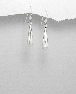 925 Sterling Silver Plain Bomb Drop Earrings - The Silver Vault UK