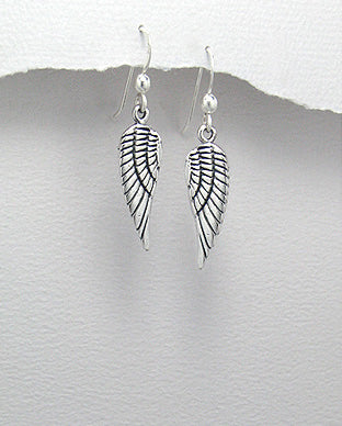 Sterling Silver Solid Angle Wings Drop Earrings - The Silver Vault UK