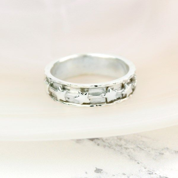 Sterling Silver Spinning Ring With Multi Star design - The Silver Vault UK
