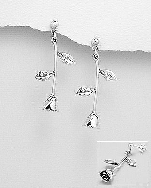 Sterling Silver Stem Rose Drop Earrings - The Silver Vault UK