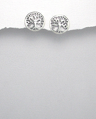 Sterling Silver Tree of Life Stud Earrings - The Silver Vault UK
