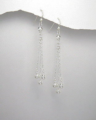 925 Sterling Silver Twisted Wire Ball Drop Earrings - The Silver Vault UK