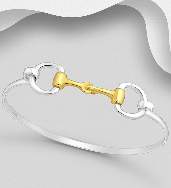 925 Sterling Silver with 18ct Gold Horse Snaffle Bangle - The Silver Vault UK