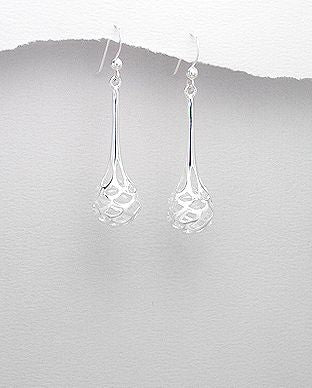 925 Sterling Silver Elegant Open Work Drop Earrings - The Silver Vault UK