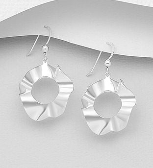 Sterling Slver Solid Round Wavey Style Drop Earrings - The Silver Vault UK