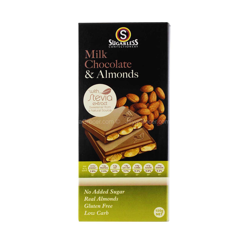 Sugarless Confectionery Milk Chocolate & Almonds 150g
