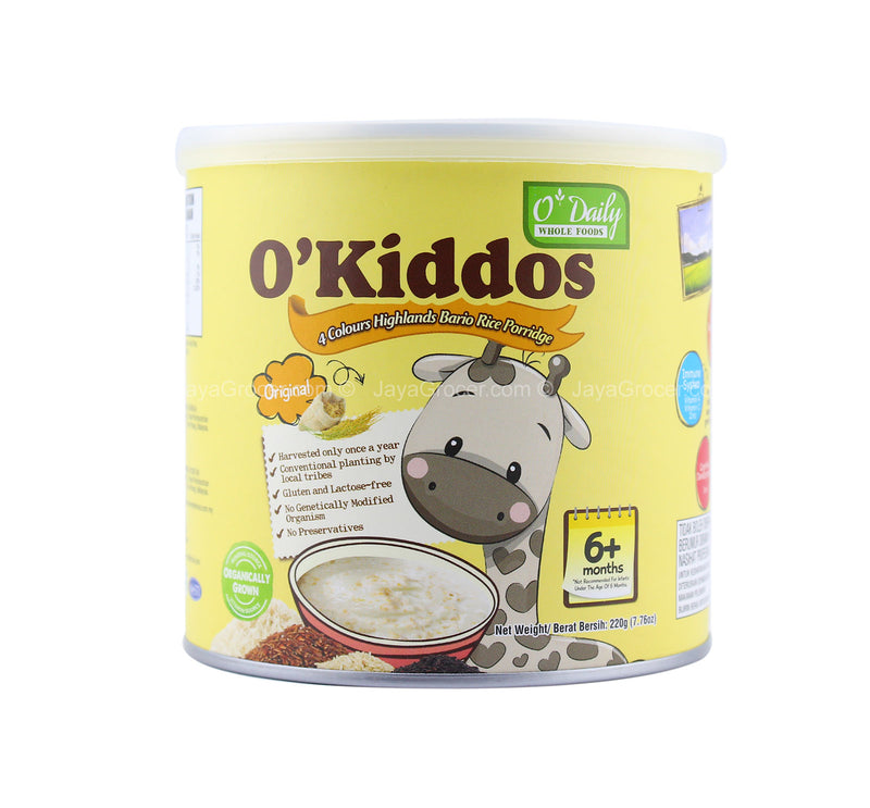 O' Kiddos 4 Colours Highlands Bario Rice Porridge Original Flavor 220g