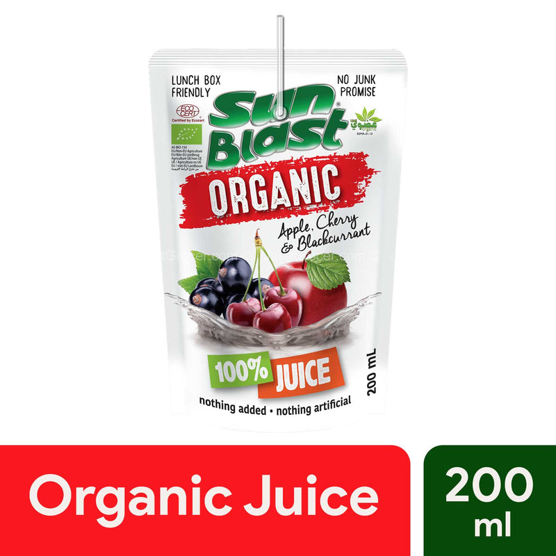 Sun Blast Organic 100% Juice Apple, Cherry and Blackcurrant 200ml