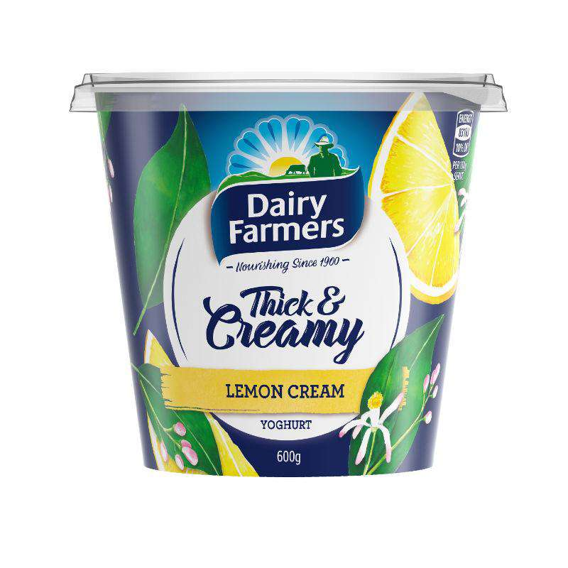 Dairy Farmers Thick & Creamy Lemon Cream Yoghurt 600g