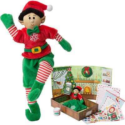 Boy Elf (Black Hair / Medium Skin Tone) & Elf Book Set