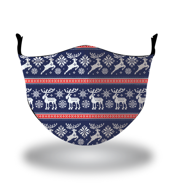 Masx Nordic Moose Blue Reusable Face Mask - Christmas Collection