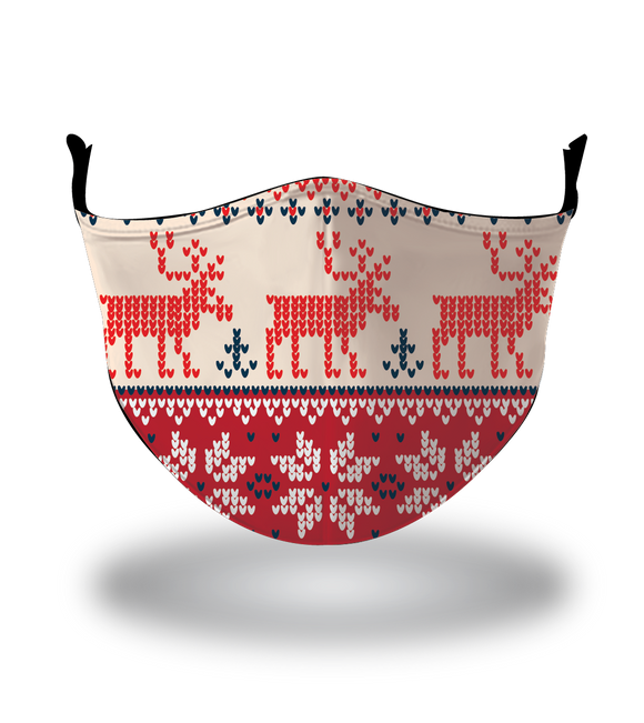 Masx Nordic Moose Red & White Reusable Face Mask
