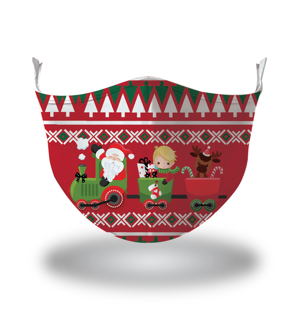 Masx Santa's Train Reusable Face Mask - Christmas Collection