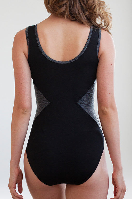 Ballet Zaida by the dancewear project: Venice Leotard - Black with heather grey