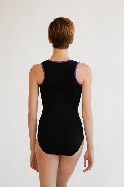 *New* Nikiya Leotard - Black with violet
