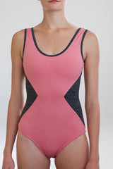 Ballet Zaida by the dancewear project: Venice Leotard - Blush with heather grey