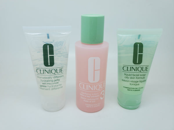 clinique 3 step travel set clarifying lotion 3 liquid facial soap hydratin jelly