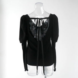 BACK OPEN PUFF SLEEVE TOPS