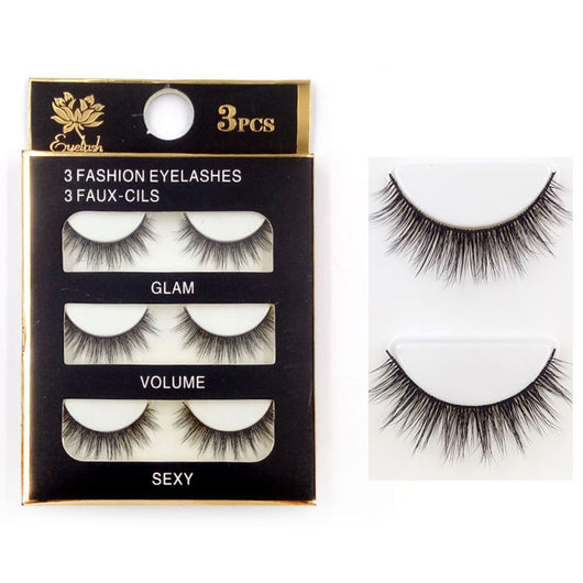 6pcs/3pair Natural Curling False Eyelashes