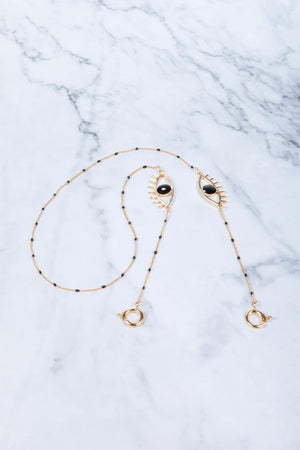 Black Onyx Eye - Gold - Mask Chain