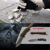 GLORYFIRE Tactical Hunting Knife Fixed Blade Serrated Edge AUS-8 Stainless Steel Blade Outdoor Survival Emergency Kit Full Tang Titanized Anti-Rust Processed Arc Hand Protected with Leather Sheath