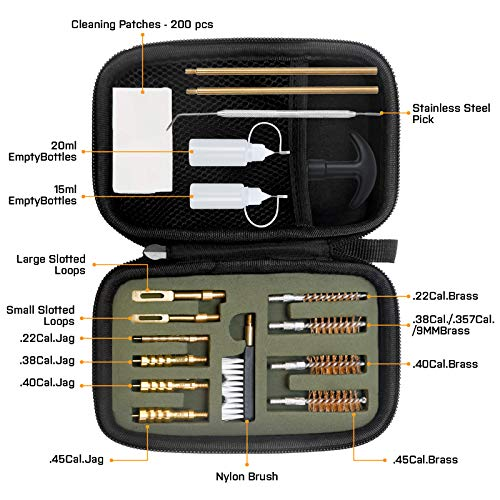 GLORYFIRE Universal Gun Cleaning Kit for .22 .357/.38/9mm .40 .45 Caliber Pistol Handgun with Cotton Mop, Bronze Brushes, Brass Jags, Brass Slotted Tips with Empty Bottles