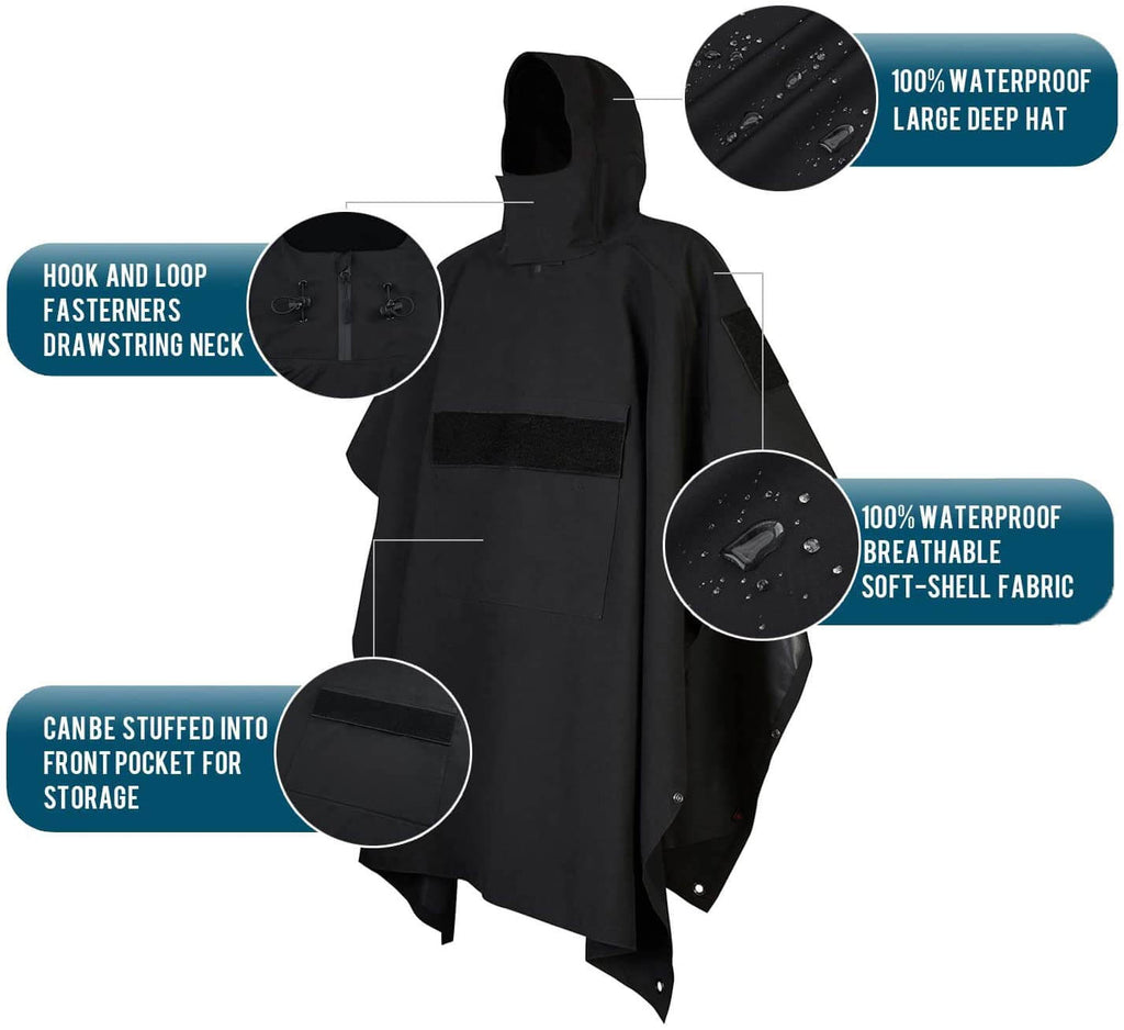 GLORYFIRE Poncho Tactical Ripstop Raincoat Multi-use for Camping Hiking Climbing