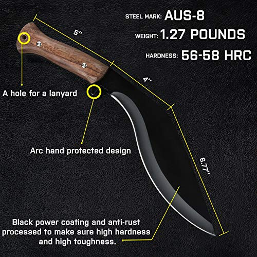 GLORYFIRE Kukri Knife AUS-8 Stainless Anti-Rust Processed Arc Hand Protected Design Fixed Blade Full Tang with Nylon Sheath Tactical Kukri Knife (Wooden Handle)
