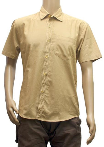 Generic Mens  Combed Cotton Semi Formal Men Shirts (Khaki, L)