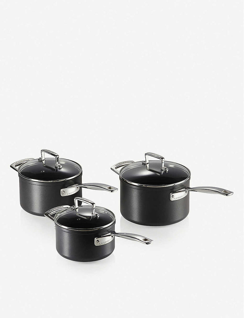 LE CREUSET Toughened Non-Stick Saucepans Set of Three