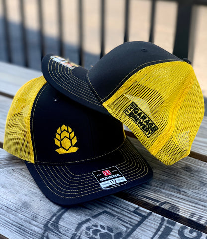 Black & Yellow Beer Hop Garage Brewery Hat